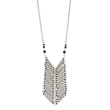 Black Beaded Ladder Necklace
