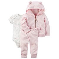 Baby Girl Carter's Animal Hoodie, Bodysuit & Pants Set