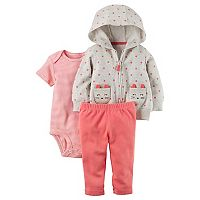 Baby Girl Carter's Animal Face Hoodie, Bodysuit & Pants Set