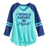 Girls 7-16 & Plus Size Mudd® 3/4-Sleeve High-Low Hem Graphic Tee