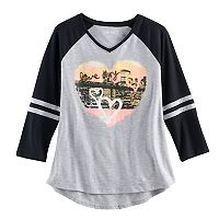 Girls 7-16 & Plus Size Mudd® 3/4-Sleeve High-Low Hem Graphic Tee