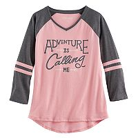 Girls 7-16 & Plus Size Mudd® 3/4-Sleeve High-Low Hem Raglan Tee