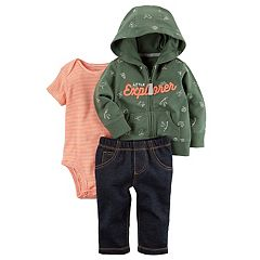 Baby Boy Carter's 'Little Explorer' Hoodie, Bodysuit & Pants Set