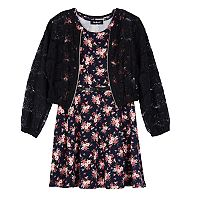 Girls 7-16 IZ Amy Byer Lace Bomber Jacket & Floral Dress Set