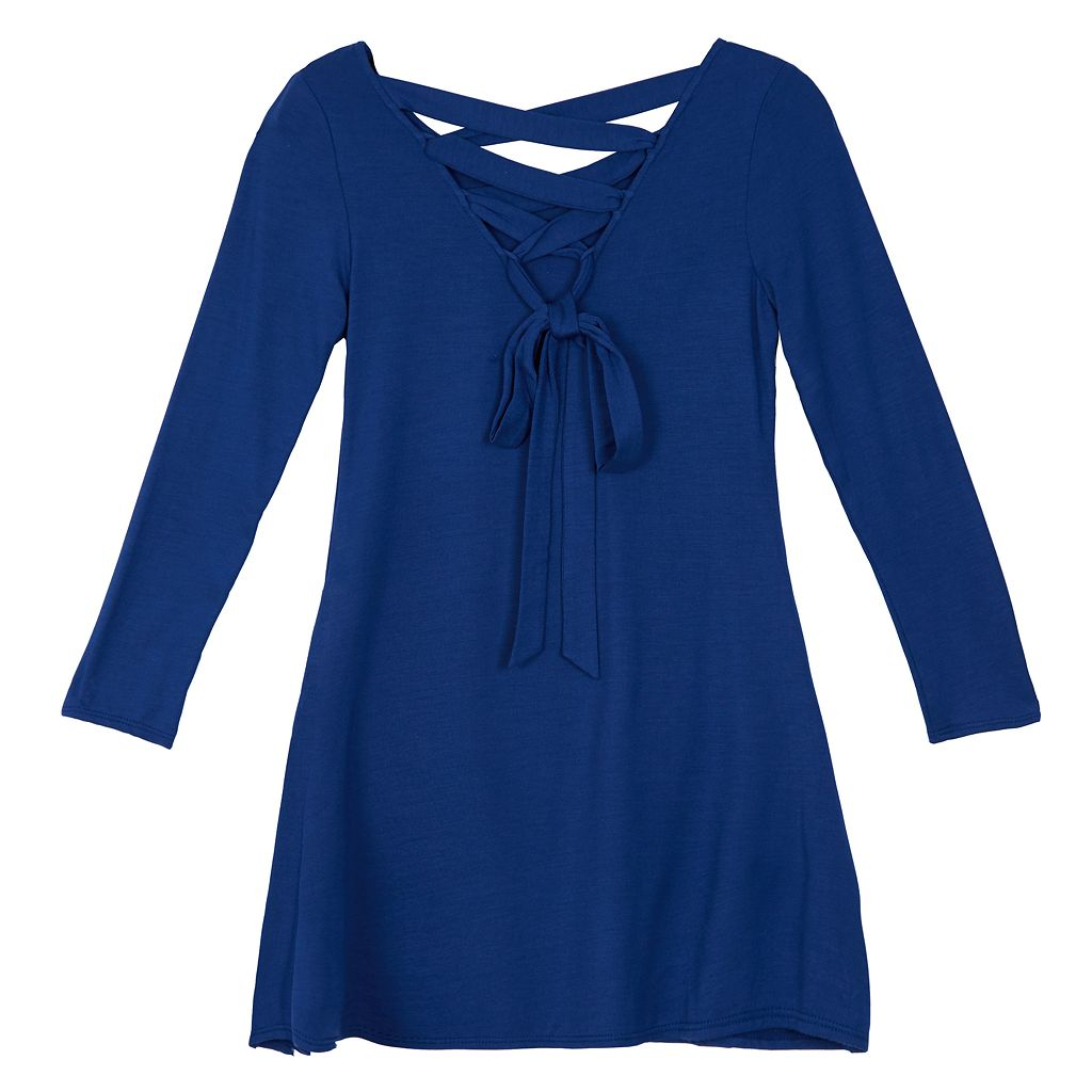 Girls 7-16 IZ Amy Byer Lace-Up Back Dress with Necklace