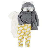 Baby Carter's Microfleece 3D Ear Jacket, Bodysuit & Bunny Print Leggings Set