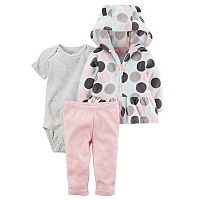Baby Girl Carter's Polka-Dot Microfleece 3D Ear Jacket, Bodysuit & Leggings Set