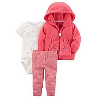 Baby Girl Carter's Microfleece 3D Mouse Jacket, Bodysuit & Leggings Set