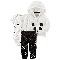 Baby Girl Carter's Microfleece 3D Panda Jacket, Bodysuit & Leggings Set