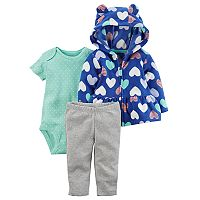 Baby Girl Carter's Heart Print Fleece Jacket, Bodysuit & Pants Set