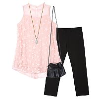 Girls 7-16 IZ Amy Byer Star Mesh Top & Leggings Set with Crossbody Purse & Necklace