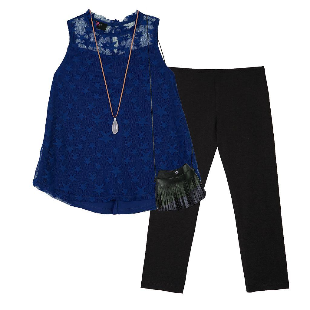 Girls 7-16 IZ Amy Byer Star Mesh Top & Leggings Set with Crossbody Purse & Necklace