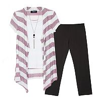 Girls 7-16 IZ Amy Byer Lurex Striped Cozy Top & Leggings Set with Crossbody Purse & Necklace