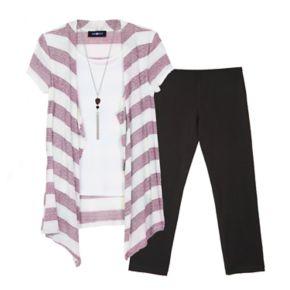 Girls 7-16 IZ Amy Byer Lurex Striped Cozy Top & Leggings Set with Necklace