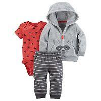 Baby Boy Carter's Microfleece 3D Raccoon Jacket, Bodysuit & Pants Set