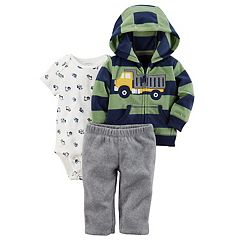 Baby Boy Carter's Truck Applique Striped Microfleece Jacket, Bodysuit & Pants Set