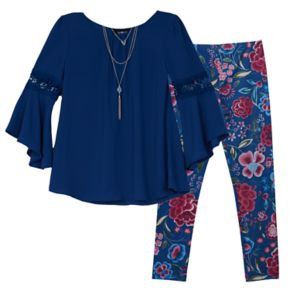 Girls 7-16 IZ Amy Byer Bell Sleeve Tunic & Patterned Leggings Set with Necklace