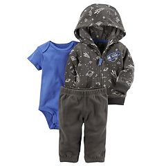 Baby Boy Carter's Outerspace 'Beyond Awesome' Microfleece Jacket, Bodysuit & Pants Set