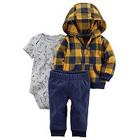 Baby Boy Carter's Buffalo Check Microfleece Jacket, Bodysuit & Pants Set