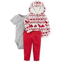 Baby Girl Carter's Heart Microfleece Hooded Jacket, Bodysuit & Leggings Set