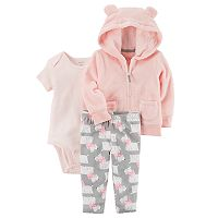 Baby Girl Carter's Sherpa 3D Ear Hooded Jacket, Bodysuit & Dog Print Leggings Set