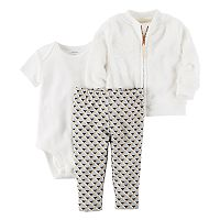 Baby Girl Carter's Bodysuit, Geometric Leggings & Velboa Jacket Set