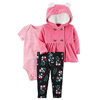 Baby Girl Carter's Striped Bodysuit, Floral Leggings & Jacket Set