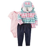 Baby Girl Carter's Bodysuit, Jeggings & Fairisle Jacket Set