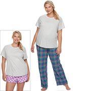 Juniors' Plus Size SO® Pajamas: Flannel Pants, Shorts & Short Sleeve Top 3 pc PJ Set