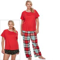 Juniors' Plus Size SO® Pajamas: Flannel Pants, Shorts & Short Sleeve Top 3 pc PJ Set