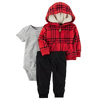 Baby Boy Carter's Plaid Microfleece Jacket, Bodysuit & Pants Set