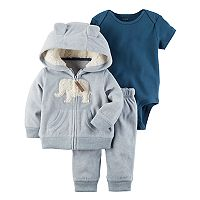 Baby Boy Carter's Sherpa Elephant Jacket, Bodysuit & Pants Set