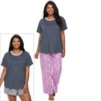 Juniors' Plus Size SO® Pajamas: Knit Pants, Shorts & Short Sleeve Top 3-Piece PJ Set