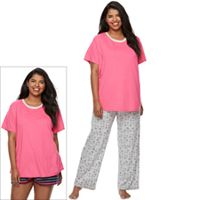 Juniors' Plus Size SO® Pajamas: Knit Pants, Shorts & Short Sleeve Top 3 pc PJ Set