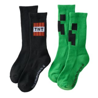 Boys 2-Pack Minecraft Creeper Crew Socks
