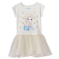 Disney's Frozen Elsa Toddler Girl Glittery Graphic Tulle Dress