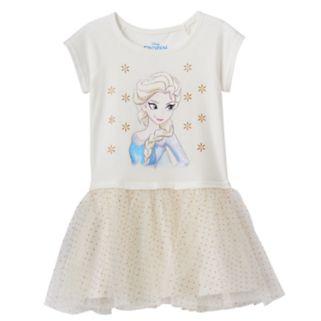 Disney's Frozen Elsa Toddler Girl Glittery Graphic Tulle Dress
