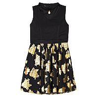 Girls 7-16 IZ Amy Byer Foil Rose Skirt Dress with Necklace