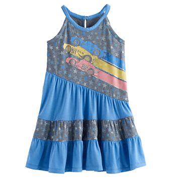 Disney / Pixar Cars 3 Lightning McQueen, Cruz Ramirez & Jackson Storm Toddler Girl Graphic Tiered Dress