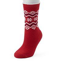 Women's Cuddl Duds Snowflake Fairisle Gripper Slipper Socks