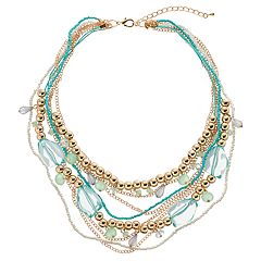 GS by gemma simone Aqua Beaded Multi Strand Necklace