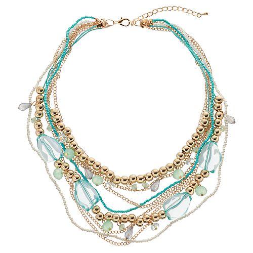 GS by gemma simone Aqua Beaded Multi Strand Necklace