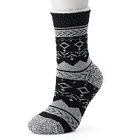 Women's Cuddl Duds Fairisle Gripper Crew Socks