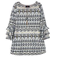 Girls 7-16 IZ Amy Byer Foil Tribal Pattern Ruffle Sleeve Dress with Necklace