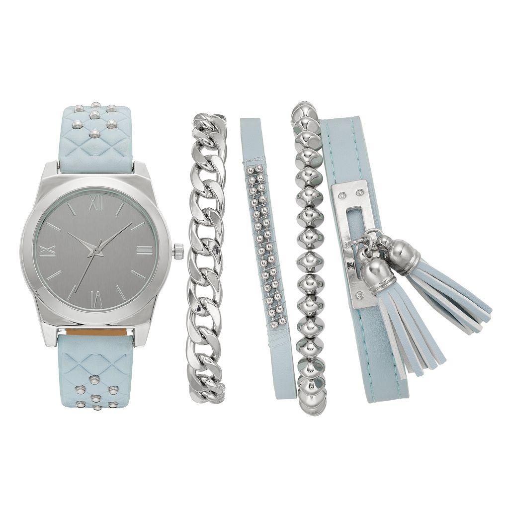 Women's Studded Watch & Bracelet Set