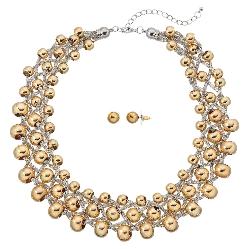 GS by gemma simone Beaded Chunky Necklace & Ball Stud Earring Set