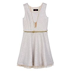 Girls 7-16 IZ Amy Byer Belted Sparkly Silver Dress with Necklace