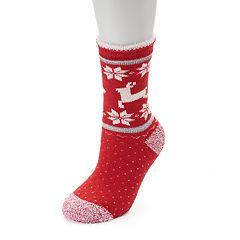 Women's Cuddl Duds Reindeer Fairisle Gripper Slipper Socks