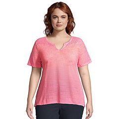 Plus Size Just My Size Lace Inset Slub Peasant Top