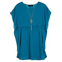 Girls 7-16 IZ Amy Byer Butterfly Sleeve Gathered Dress with Necklace